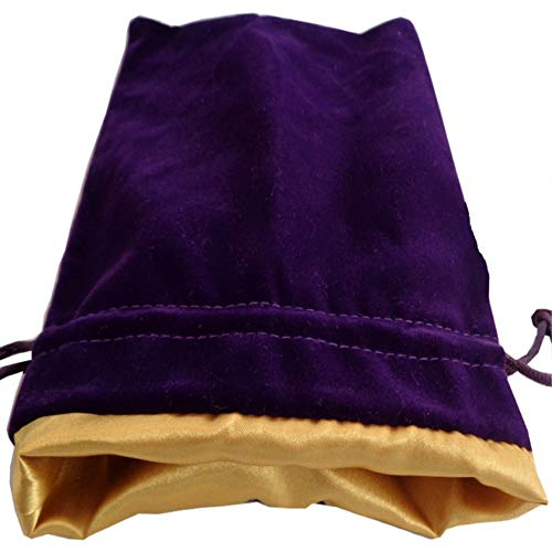 "Luxury Velvet Dice Bags with Satin Lining: 4""x6"" Purple Velvet Dice Bag with Gold Satin Lining"