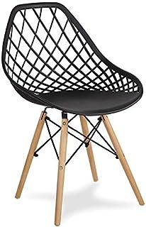 Chaise ajourée avec pieds en bois de hêtre pour salle à manger, salon - Noir - YE-02