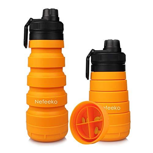 Nefeeko Collapsible Water Bottle, 750ML Reuseable Foldable Water Bottles with Storage, Portable Leak...