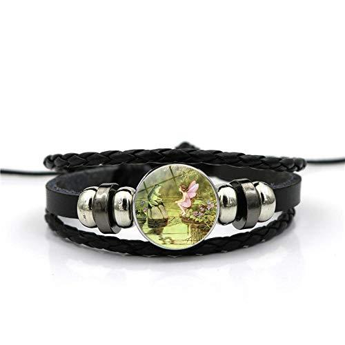 XIANNU Damen Armband,Grünes Wow und Engel Kettenglas Wristwear-Zeit-Edelstein-Aussage-Armband-Geschenk-europäisches und amerikanisches Schmuckgeschenk