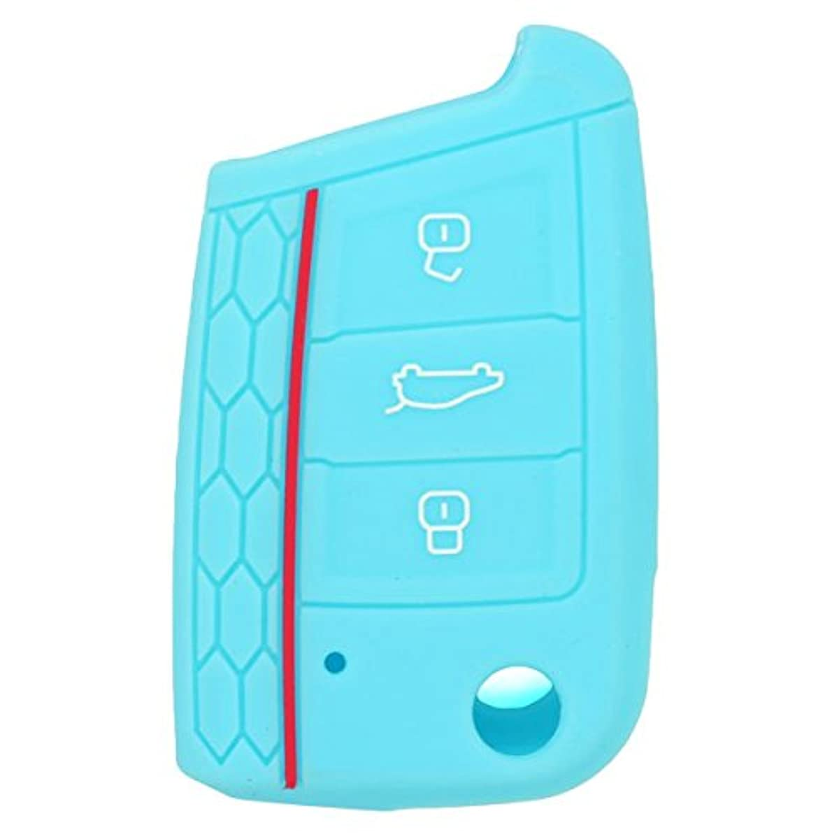 SEGADEN Silicone Cover Protector Case Skin Jacket fit for VOLKSWAGEN 3 Button Remote Key Fob CV9801 Light Blue