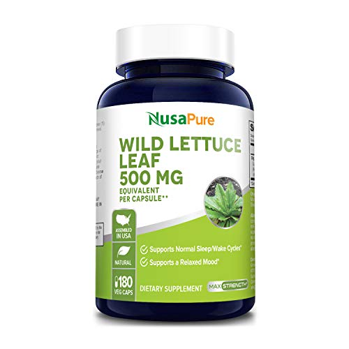 Wild Lettuce Leaf Extract 500mg 180 Veggie caps (Non-GMO,Made with Organic Wild Lettuce, Extract 4:1 & Gluten Free), All-Natural Sleep Aid and Pain Reliever