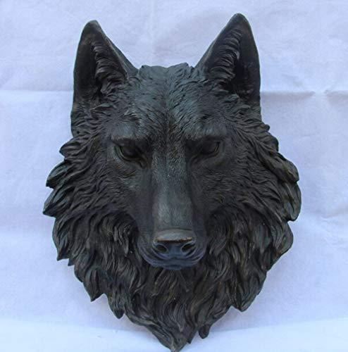 BYBYGA standbeeld China Art Decor Brons puur koper beeldje hond Wolf hoofd masker standbeeld beeldhouwwerk
