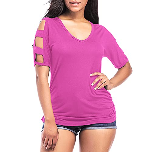 Camiseta Mujer Elegante con Cuello V Chic Sin Tirantes Manga Corta Color Sólido Mujer Blusa Verano Suelta Cómoda Tops Mujer Trabajo All-Match Mujer Tops I-Red XL