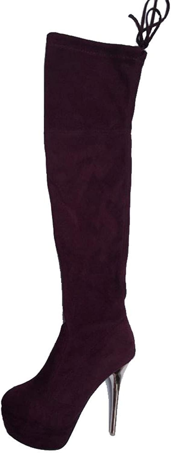 DoraTasia Women's Thigh High Boots -Sexy Over The Knee Pull On Boot -High Heel Comfortable Platform Boot