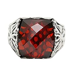 925 Silver Band Vintage Biker Red Rectangle Rhinestone Ring