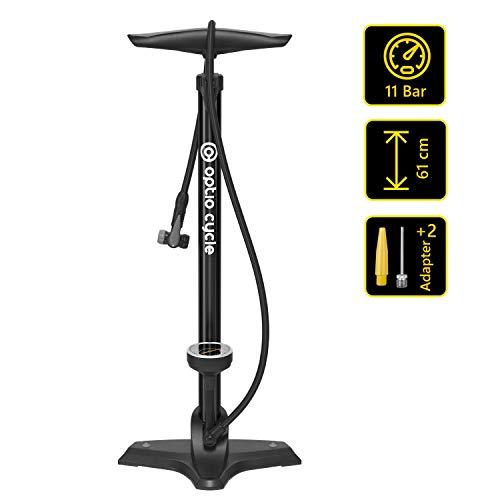 Optio Cycle Standluftpumpe für Allen Ventile Fahrradpumpe mit Manometer Display Fahrrad Standpumpe Luftpumpe mit Adaptern