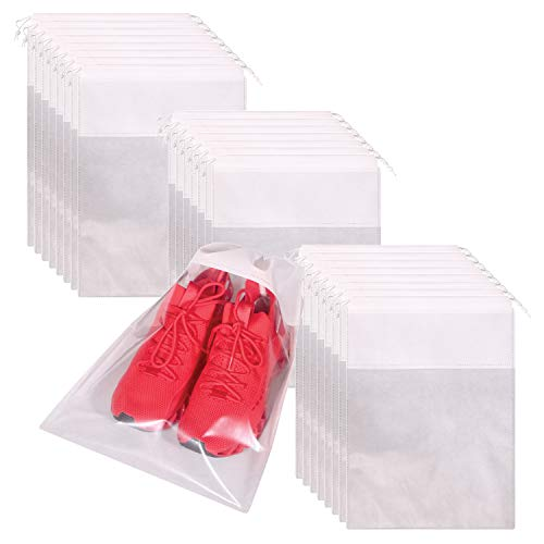 24 Pack Portable Shoe Bags for Travel Large Shoes Pouch Storage Organizer Clear Window with Drawstring for Men and Women White