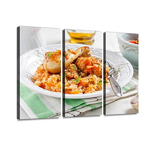 3 Panel Wall Art Modern Artworks for Home Decor Canvas Prints Rice with Chicken and Vegetables in Tomato Sauce braised Chicken Pictures for Living Room Bedroom Decoration, Ready to Hang