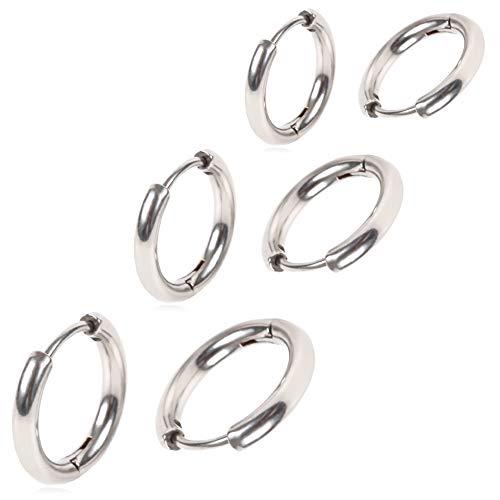 Adelina Style(アデリナスタイル) フープピアス 幅2.5mm メンズ レディース 両耳用 リングピアス ステンレス アレルギーフリー 3サイズペアセット ポーチ クロス付 (シルバー 12・16・20mm)