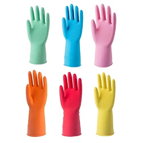 Siyecioa 6 Paar Gummihandschuhe, Gummi Reinigungshandschuhe, Haushalt Küche Reinigung Wasserdichte Handschuhe, Gartenhandschuhe, Wiederverwendbare Handschuhe (6 Farben,XL 1 Paar,M 5 Paare)