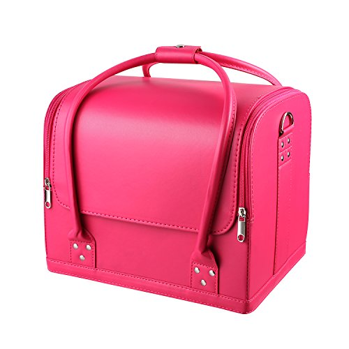 HOMFA Makeup Train Case 3 Layer Makeup Organizer Bag with Shoulder Strap Adjustable Dividers for Cosmetics Makeup Brushes Toiletry Jewelry (Pink)