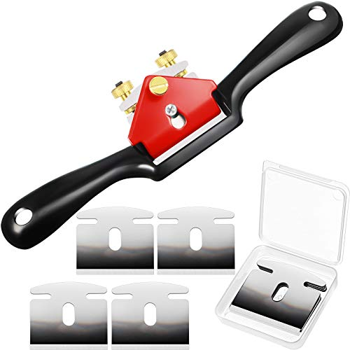 Minatee 6 Pieces Adjustable Spokeshave Set 1 Piece Adjustable Spokeshave with Flat Base and 5 Pieces Metal Blade Wood Working Hand Tool for Wood Craft Wood Carver and Wood Working (10 Inch)
