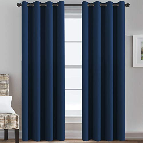 """Ultra Thick and Soft Curtains Blackout for Bedroom Window Treatment Boys Girls Kids Bedroom Curtains Thermal Insulated Grommet Blackout Curtain Panels for Living Room - 52""""W by 84""""L, Navy, 1 Panel"""