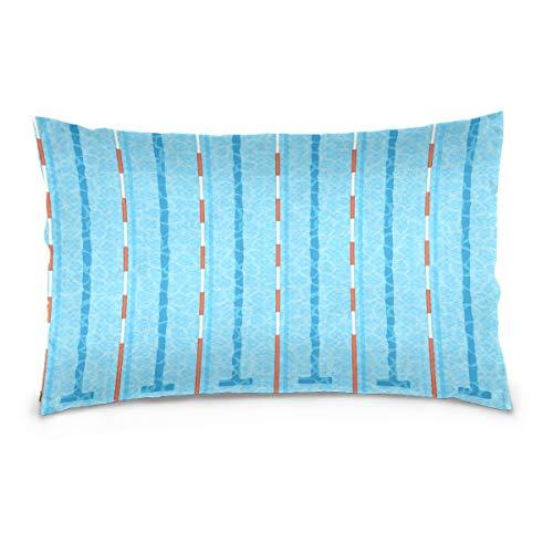 LORONA Funda de almohada de piscina de lino para decoración del hogar con cremallera invisible para sofá y cama de 40,6 x 60,9 cm