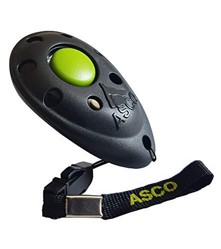 ASCO Premium Clicker für Clickertraining, Hunde Katzen Pferde Profi Clicker, Hundetraining Klicker schwarz AC01P