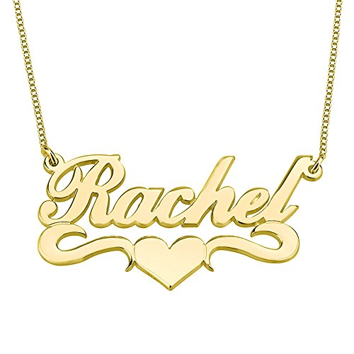 """HACOOL Personalized Name Necklace Pendants in 18K Gold Plated Custom Made with Any Name 18"""" Chain (Golden)"""