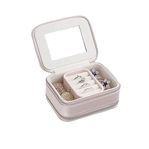 Organizador portátil para joyas, estuche de viaje, organizador de joyas pequeño, aretes, anillos, caja de almacenamiento con doble cremallera (color: rosa)