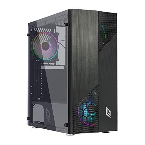Noua Smash S7 Black Case ATX per PC Gaming 0.50MM SPCC 3*USB3.0/2.0 Frontale Mesh 4 Ventole Triplo Halo RGB Rainbow Addressable 5V ADD Pannello Laterale in Vetro Temperato (AxPxL: 415x390x190 mm)