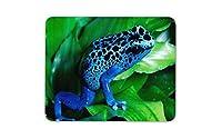 青い葉に緑色のカエルのマウスパッドー滑り止め加工処理 防水材質 疲労軽減 マウスパット