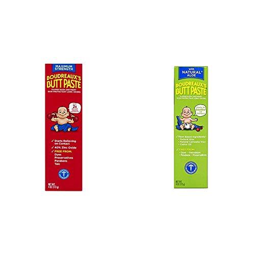Boudreaux's Butt Paste Diaper Rash Ointment Variety Pack (1-4 oz Maximum Strength, 1-4 oz Natural Aloe)