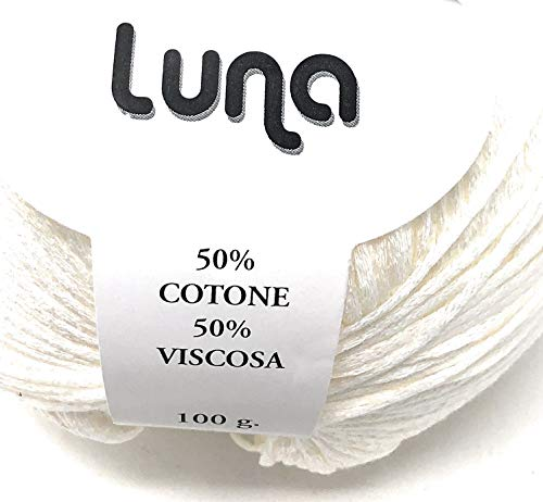 Chicca Tutto Moda Gomitolo per Lavoro a Maglia Ferri 4/5 per Misto Cotone 100 Grammi 300 m Alta qualità Made in Italy Luna (Bianco)