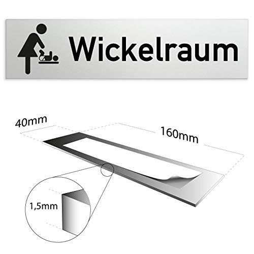 Kinekt3d Leitsysteme Schild/Türschild 160 x 40 x 1,5 mm - Aluminium Vollmaterial eloxiert - Oberfläche in geschliffener Edelstahloptik - 100% Made in Germany (Wickelraum)