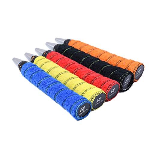 VORCOOL 5pcs Racket Grip Cinta para Tenis Badminton Antideslizante de algodón Raqueta Agarre overgrip Tape para Deportes bádminton (Colores al Azar)
