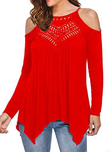 MIHOLL Women's Casual Tops Lace Off Shoulder Long Sleeve Loose Blouse Shirts (Small, Red)