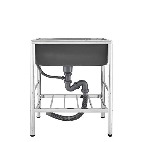 HomeLava Mobile Spüle Spülbecken Hochwertiger 304 Edelstahl Küchenspüle 1 Becken 65 x 45 x 80 cm Spülschrank Campingküche Multifunktions Waschtisch mit Ständer