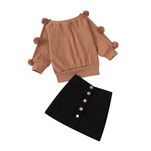 Suéter de Bola de Pelo de Manga Larga de Punto para niña Top + Botones Mini Falda lápiz Conjunto de Vestido