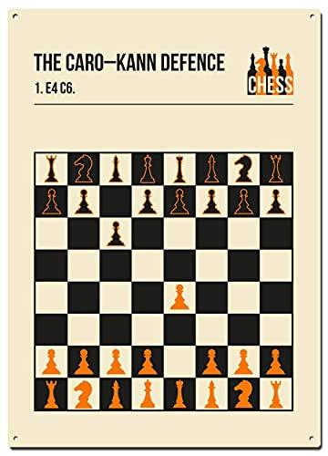 DJNGN Caro Kann Defence - Letreros de metal de estaño, juegos de ajedrez y aperturas, carteles decorativos para decoración del hogar, 20 x 30 cm