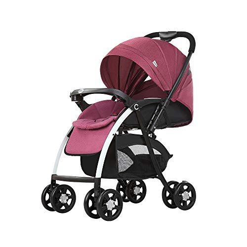 Cochecito de bebé plegable, cochecito de bebé, plegable, silla de paseo, silla de paseo, silla de paseo, altura regulable, con correa de puntos, 25 kg