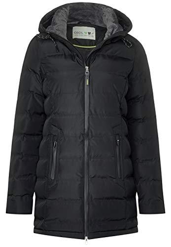 CECIL Damen 100536 Mantel, Schwarz (Black 10001), Small (Herstellergröße:S)