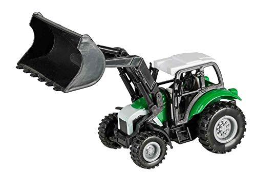 Idena 40292 Tractor voorlader met terugtrekmotor, trekhaak en afneembare frontlader, ca. 14 cm.