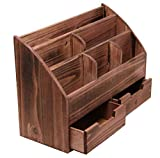 Executive Office Solutions Vintage Rustic Wooden Office Desk Organizer & Mail Rack for Desktop, Tabletop, or Counter - Distressed Torched Wood-Store Supplies, Desk Accessories, Mail – Cherry (WO3)