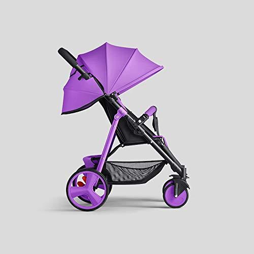 ZXCMNB Los cochecitos de bebé, plegadizas Silla de paseo desde el nacimiento hasta los 25 kg, peso ligero con posición de acostado, Doble una mano (Color : Purple b)