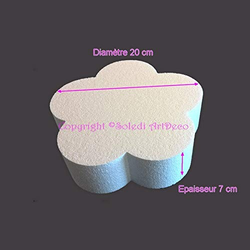Lealoo sokkel, plat, bloemenvorm, van polystyrol, wit, diameter 20 cm x dikte 7 cm, 28 kg/m3, houder voor tafeldecoratie