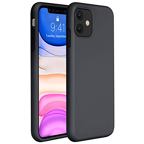 Miracase Liquid Silicone Case Compatible with iPhone 11 6.1 inch(2019), Gel Rubber Full Body Protection Cover Case Drop Protection Case (Black)