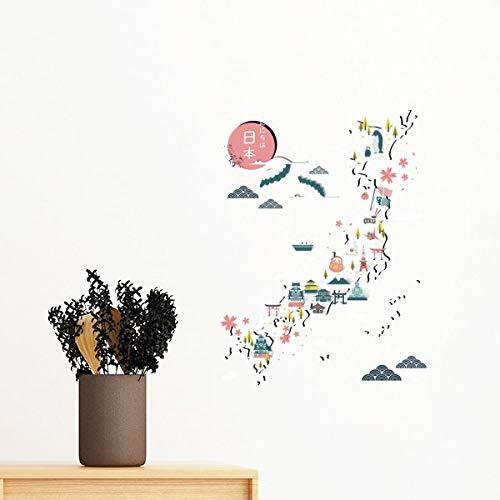 DIYthinker Tradicional Japonesa Mapa Local Especial Pared Etiqueta engomada desprendible de Arte Mural Calcomanías de Bricolaje Fondo de Pantalla para el Sitio de la Etiqueta 50cm