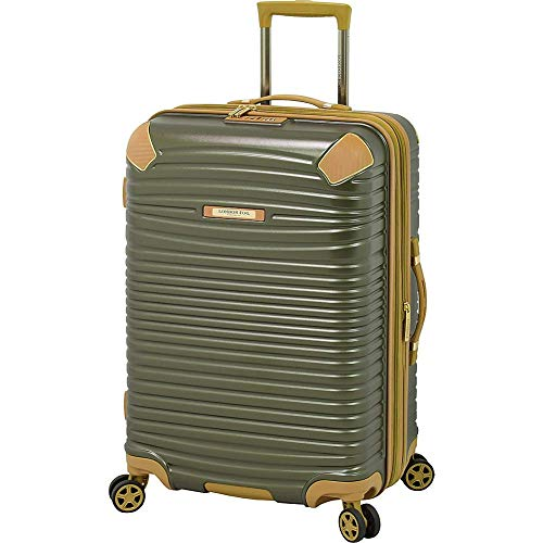 LONDON FOG Huntington Hardside Spinner Luggage, Olive, Checked-Medium 25-Inch