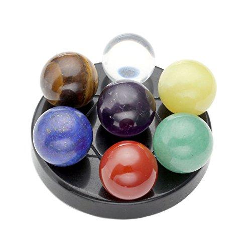 CrystalTears Reiki Shpere on Obsidian Base Seven Star Group bolas de chakra de cristal curativo con caja