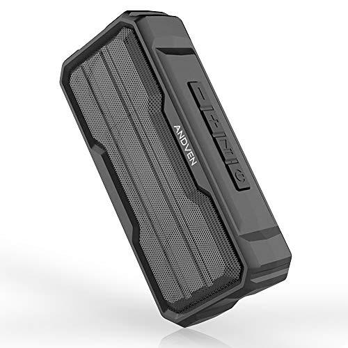 Andven Altavoz Bluetooth Portatiles, 5.0 Altavoces Bluetooth, Altavoz portátil estéreo con TWS Funcion, Micrófono y Manos Libres, IPX6 Impermeable para el hogar, Aire Libre, Viajes