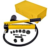 HFS(R)10 Ton Hydraulic Knockout Punch Hole Driver Kit Complete Tool Set with 6 Dies
