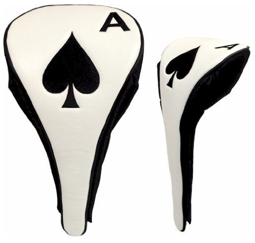 JP Lann Golf Ace of Spades Driver Head Cover with Magnetic Closure, Black/White