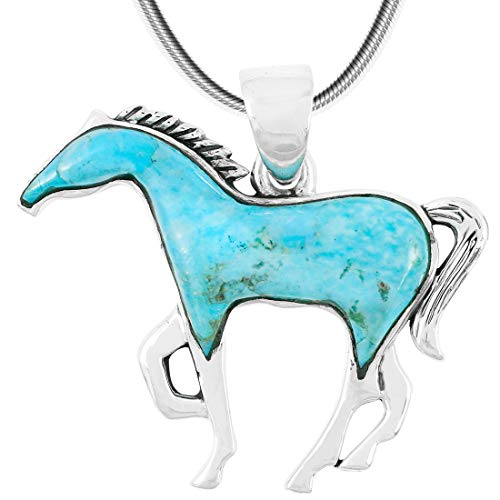 Horse Necklace Sterling Silver & Genuine Turquoise Pendant & 20' Chain (Turquoise)