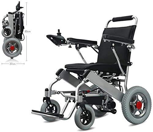 mjj Silla de ruedas eléctrica automática plegable para personas mayores (batería de iones de litio de 6 Ah de 250 W x 2 motores duales), silla de ruedas inteligente para personas mayores