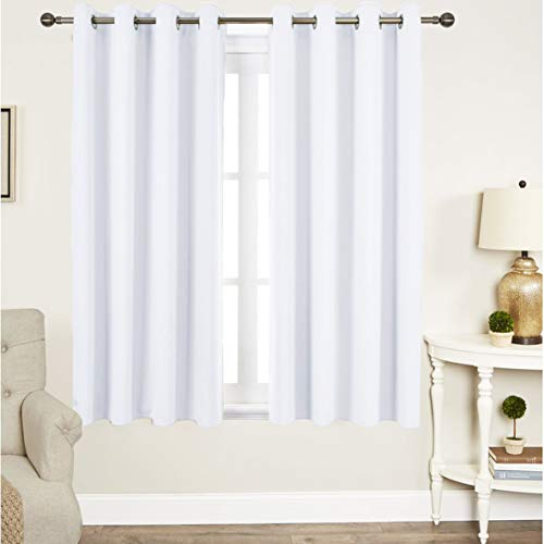 Tiny Break Curtains for Living Room and Bedroom, Made of 100% Cotton, Eco Friendly, Grommet Top, Moderate Room Darkening Curtains - White Cotton Curtains 63 Inchs Long - Window Curtains Set of 2