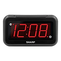 Sharp Digital Alarm Clock - Large 1.4 LED Display with Brightness Control and Repeating Snooze, Easy to Use, Dependable Battery Back-up