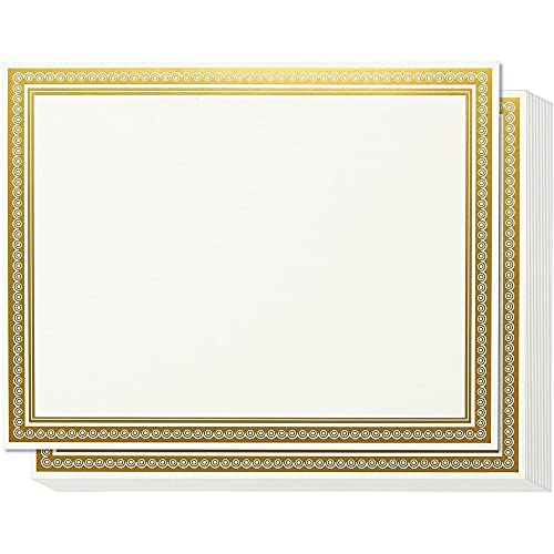 50 Blank Plain Paper Sheets - with Gold Foiled Metallic Border Computer Paper - Laser & Inkjet Printer Compatible - 180G Specialty Paper,50pcs/Design, Total 1 Designs, White